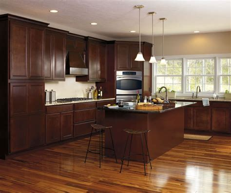 dark maple cabinets in casual kitchen aristokraft