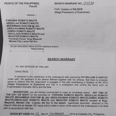 Who Issues Search Warrants Look One Of Three Search Warrants Issued Vs Maute Family