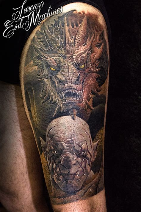 the hobbit tattoo designs the hobbit smaug azog realistic color by lorenzo