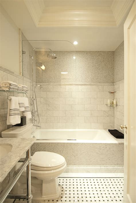 mixed shower tiles transitional bathroom