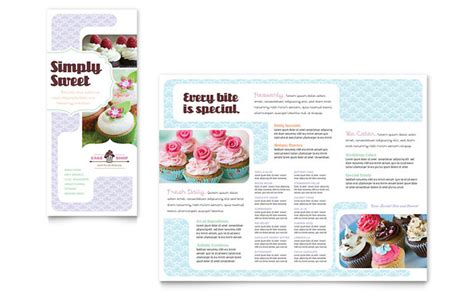 cake flyer template free bakery cupcake shop tri fold brochure template design
