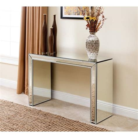 sofa table with mirror abbyson living venice studded mirror silver sofa table