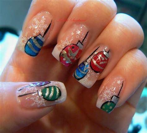 christmas ornament nails nails pinterest
