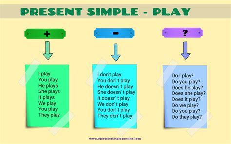 preguntas en presente perfecto en ingles afirmativas negativas y interrogativas conjugaci 243 n verbo quot play quot en presente simple ejercicios