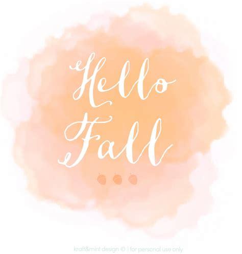 hello fall printable design download kraft mint