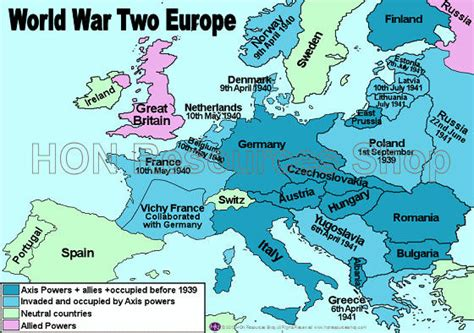 Printable World War 2 Map Of Europe | world war two europe printable history map by honresourcesshop
