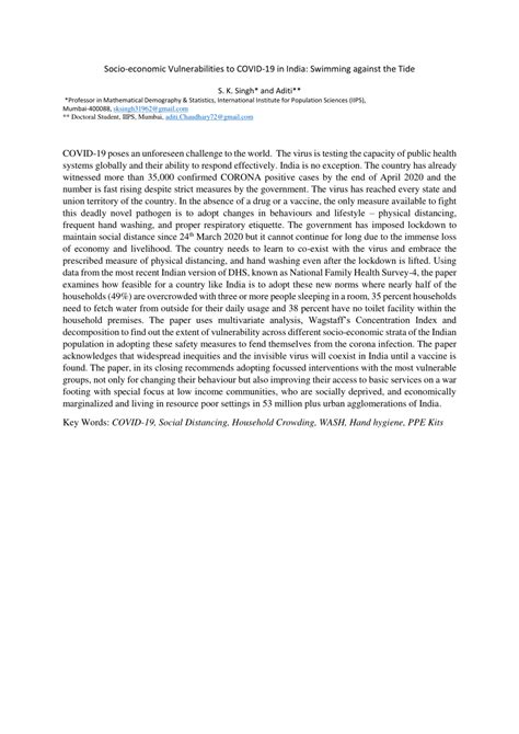 (PDF) Socio-economic Vulnerabilities to COVID-19 in India