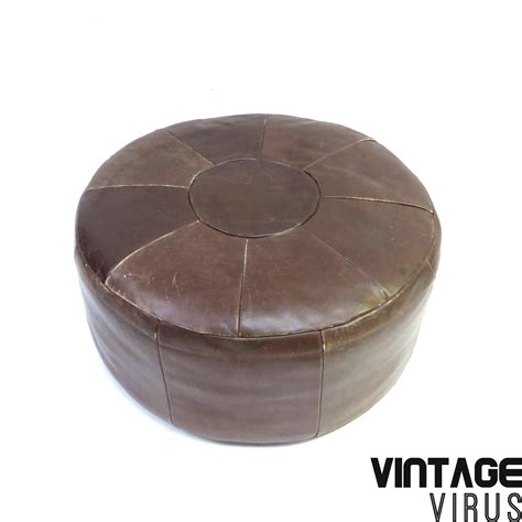 vintage brown leather ottoman large brown leather vintage patchwork ottoman made in the
