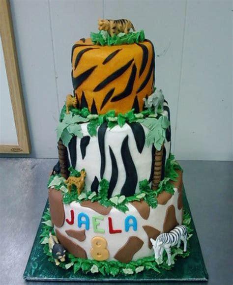 Tier Safari Theme  Ee  Birthday Ee   Cake With Animal Stripes And
