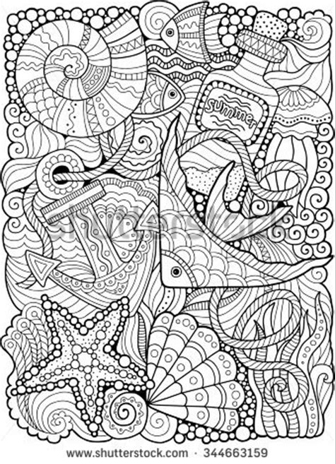 abstract summer coloring pages vector coloring book adult summers sea vectores en stock