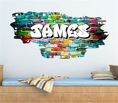 graffiti interiors home art murals and decor ideas personalised graffiti brick name wall sticker decal