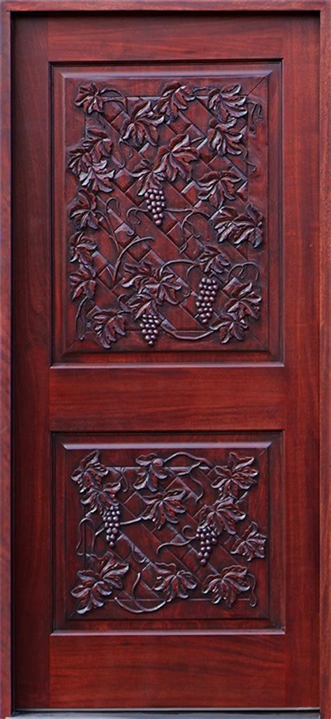 Hand Carved Mahogany Door With Grape Vines Theme