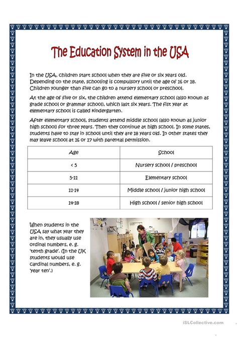 school system in the usa worksheet free esl printable