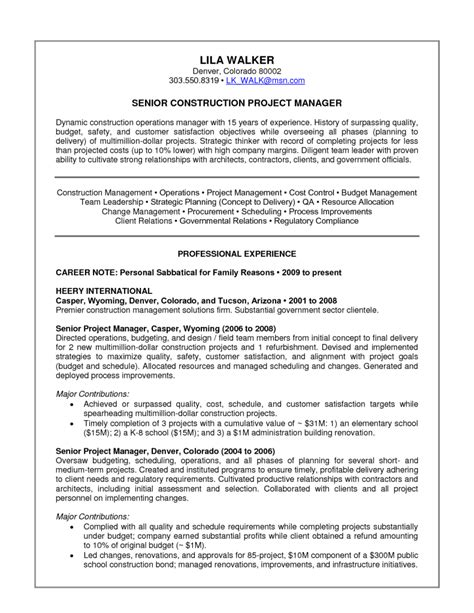 construction resume exles and sles resume construction project manager resume 2016