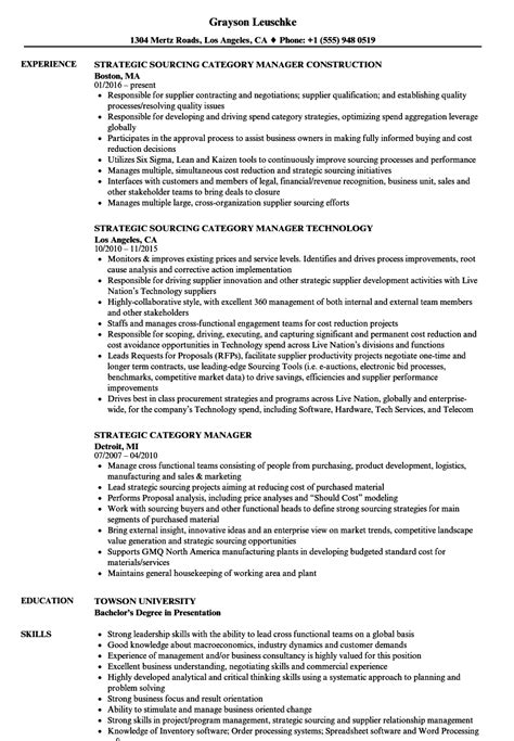 strategic category manager resume sles velvet