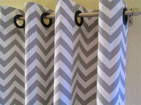 Gray And White Chevron Curtains Curtains Pair 25 Wide Premier Print Grey White