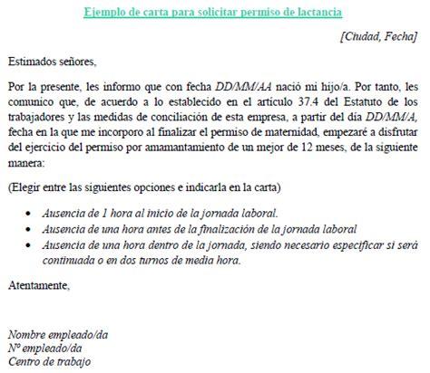 ejemplo carta solicitud de licencia ejemplo de carta para solicitar permiso de lactancia