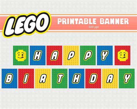 printable lego happy birthday banner lego banner printable clipart digital by heartspaperart on