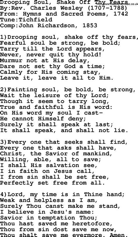 printable lyrics shake it off methodist hymn drooping soul shake off thy fears