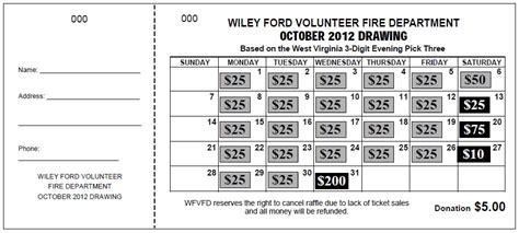 Quot Jumbo Calendar Quot Raffle Tickets Calendar Fundraiser Template