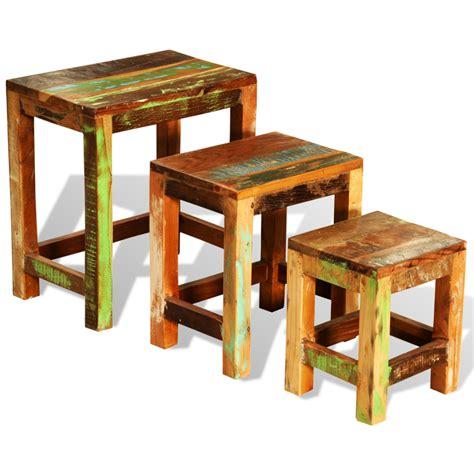 vidaxl co uk reclaimed wood set of 3 nesting tables