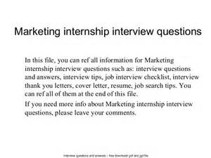 marketing internship questions