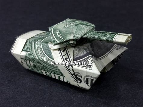 Origami Army Tank - tank money origami dollar bill by vincent the