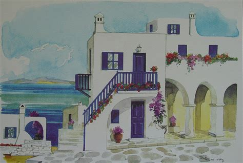 painting of house greek house and seaview by s simitis