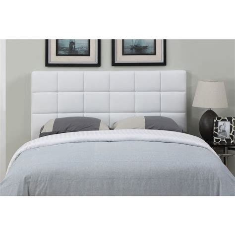 white leather size square tufted headboard