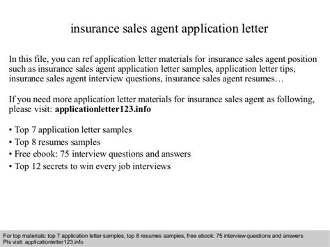 Application Letter Format Insurance Company Insurance Sales Application Letter