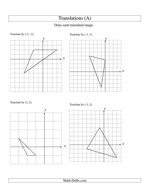 printable math transformation worksheets translation of 3 vertices up to 3 units a