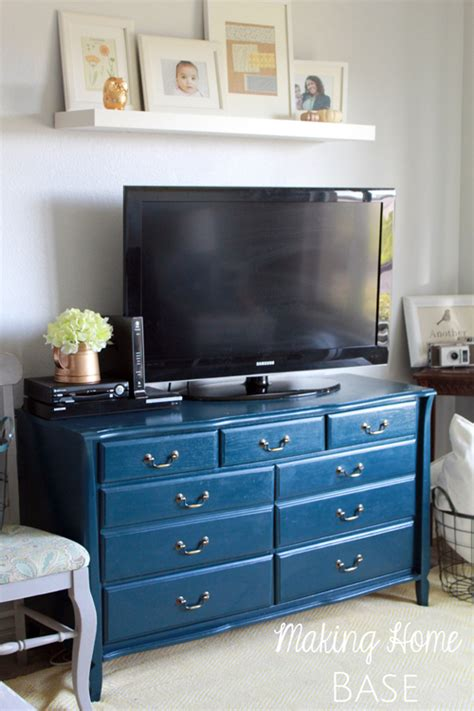 navy blue console cabinet navy painted media stand repurposed dresser making home