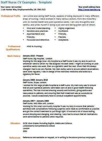 Curriculum Vitae Nurse Example by Staff Nurse Cv Example Learnist Org