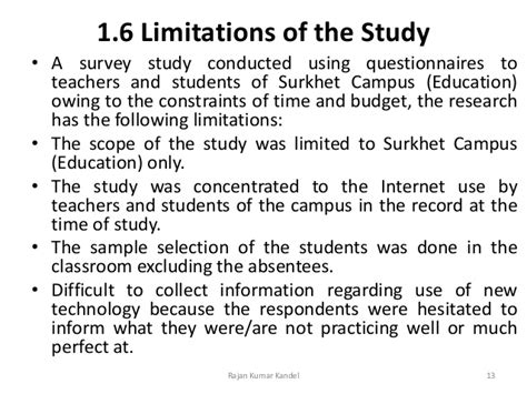 scope and limitations of the study in research paper a study on use of the by the teachers and