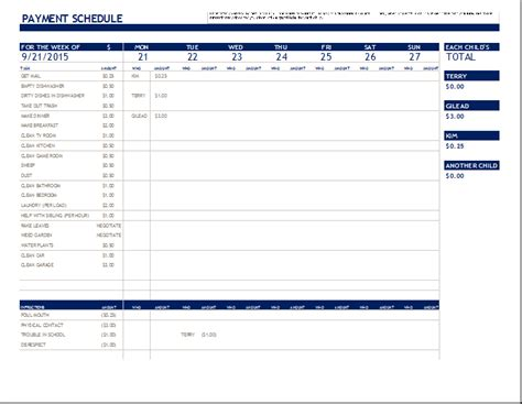excel monthly bill payment template 14 payment schedule