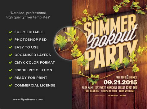 cookout flyer template summer cookout flyer template flyerheroes