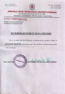 Certification Of Degree Letter Regional Passport Office Issues Jntu Moi Certificate