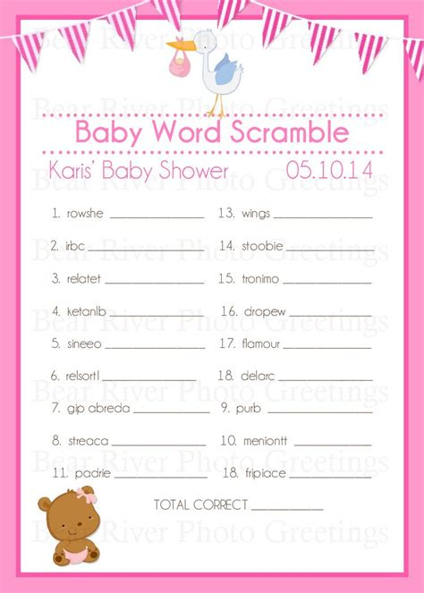 Free Printable Baby Shower Word Scramble by Item Details