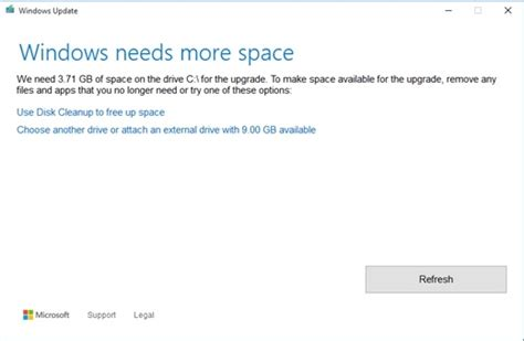 install windows 10 not enough space solve quot not enough disk space upgrade to windows 10 quot problem