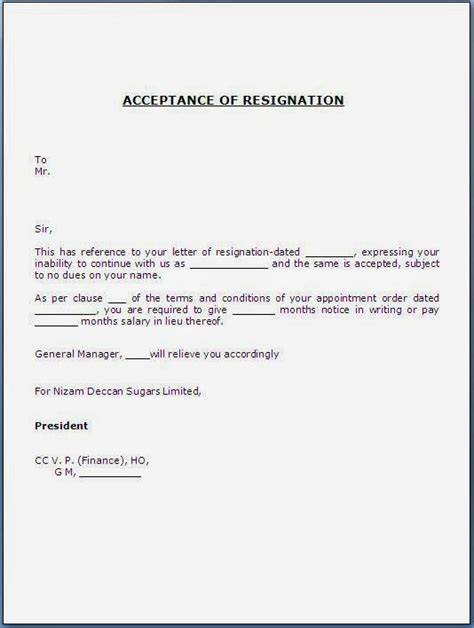 acceptance letter of resignation by employer acceptance of resignation letter