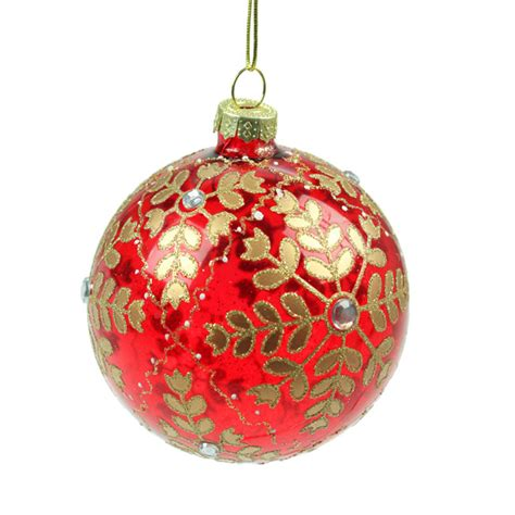 christmas baubles xmas gg 133 red glass gold snowflake christmas bauble 8cm occasions direct