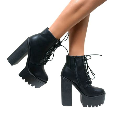 womens chunky platform boots cleated sole high heel
