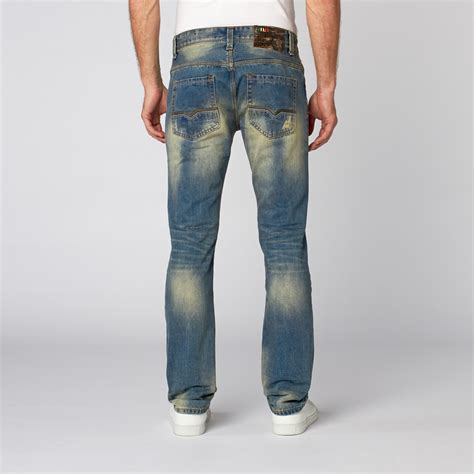 J006 Ripped Denim Washed Fade Blue slim tapered washed denim mid blue fade 30wx32l recess denim touch of modern