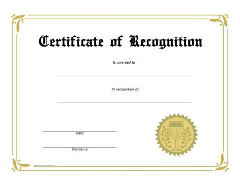 Free Printable Templates For Certificates Of Recognition by Free Certificate Of Recognition Templates At