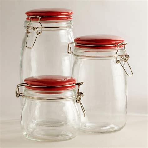 red glass kitchen canisters glass canisters with red cl lids world market