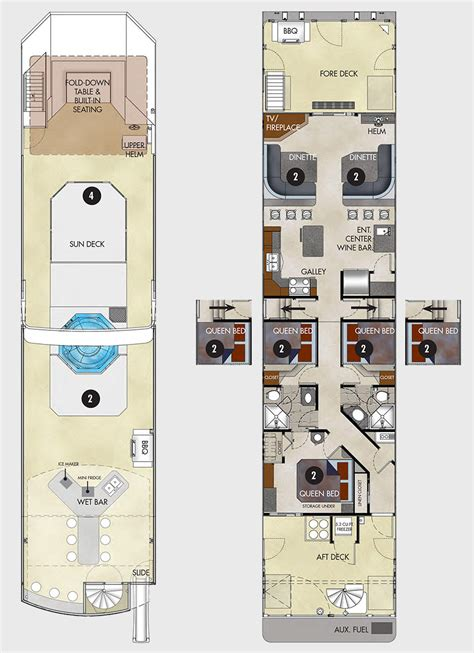 houseboat floor plans 75 excursion houseboat