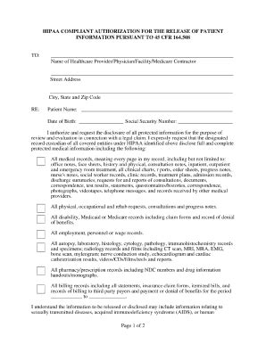 Basic Hipaa Release Form Templates Fillable Printable Sles For Pdf Word Pdffiller Hipaa Compliant Release Of Information Template