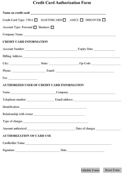Business Credit Check Authorization Form Template Credit Card Authorization Form Editable Forms