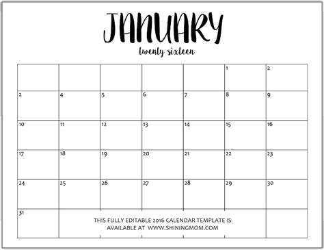 Microsoft Word 2014 Monthly Calendar Template by January 2015 Calendar Blank Template Blank Calendar 2015