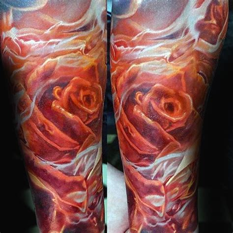 flaming rose tattoo 80 tattoos for burning ink design ideas